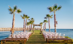 destination wedding in cabo san lucas, strip of land around ocean