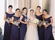 bridesmaids in dark purple bride in white roman catholic wedding ceremony religious pittsburg
