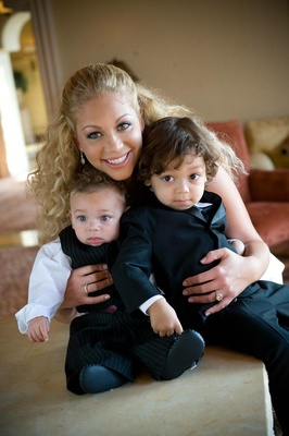 Bride with baby and toddler ring bearers