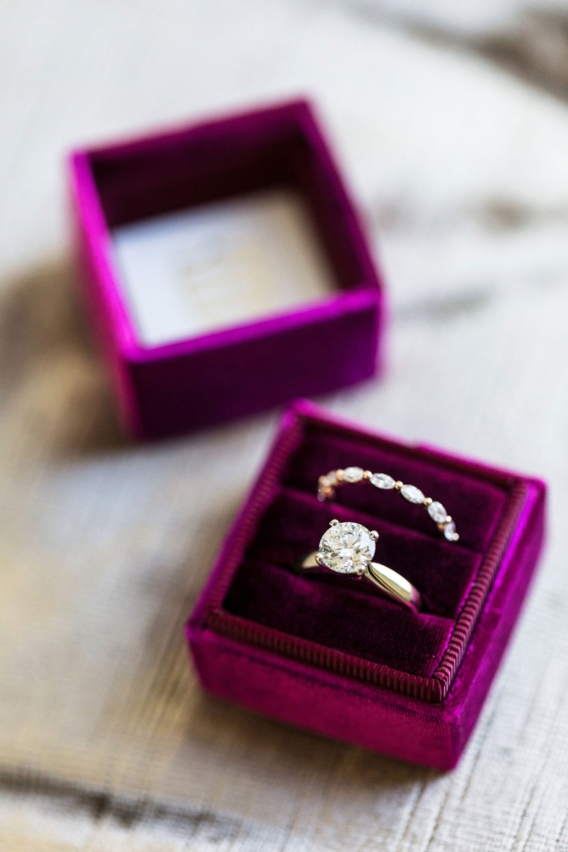 four prong solitaire diamond engagement ring, bubble and breathe wedding ring, velvet plum mrs. box