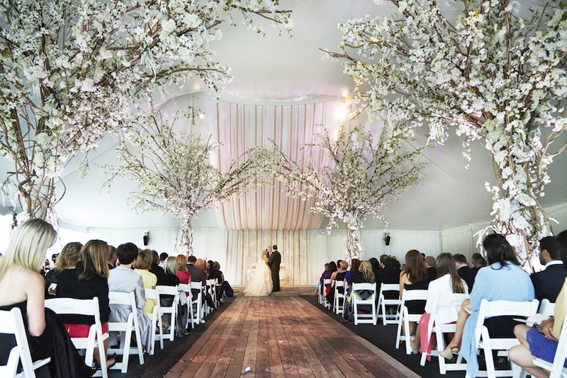 White tent wedding ceremony with wood aisle and tree decor & Ceremony Décor Photos - Tent Ceremony with Tree Decorations ...