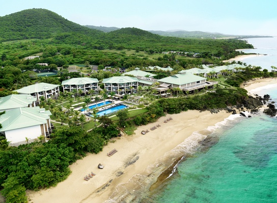 Aerial view of W Retreat & Spa, Vieques Island in Puerto Rico.