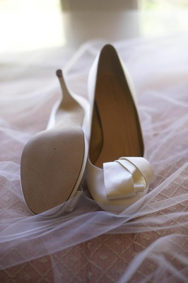 Off-white wedding heels with knotted ribbon detail