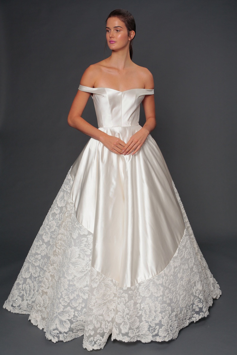 Isabelle Armstrong fall 2019 bridal collection wedding dress Beatrice off-the-shoulder ball gown