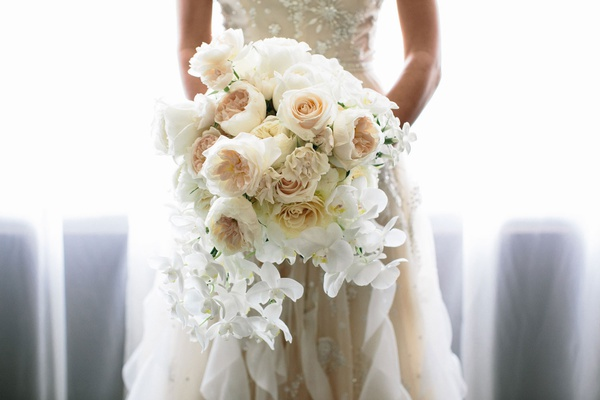 bridal bouquet with garden roses and white phalaenopsis orchids peonies white flower bouquet