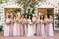 bride in galia lahav wedding dress bridesmaids in mismatch dresses light pink purple mauve lavender