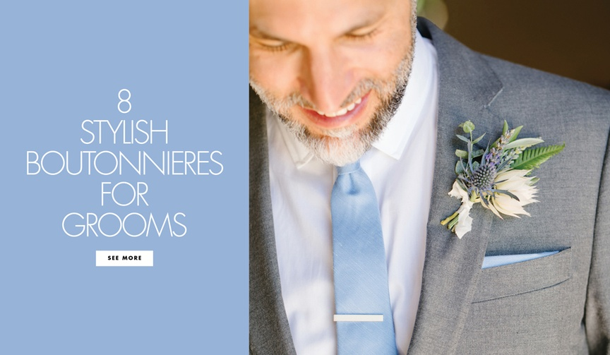 8 stylish chic fashionable fun boutonnieres wedding day groom groomsmen accessories floral accents
