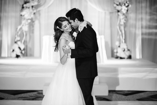 Black And White Photo Of Couple Dancing At Reception