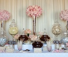 Wedding reception sweets station with pink roses
