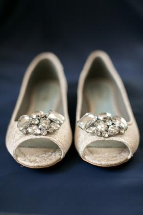 Bridal brocade peep-toe shoes with rhinestones