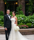 first look portrait bride groom four season washington dc tuxedo white dress classic wedding