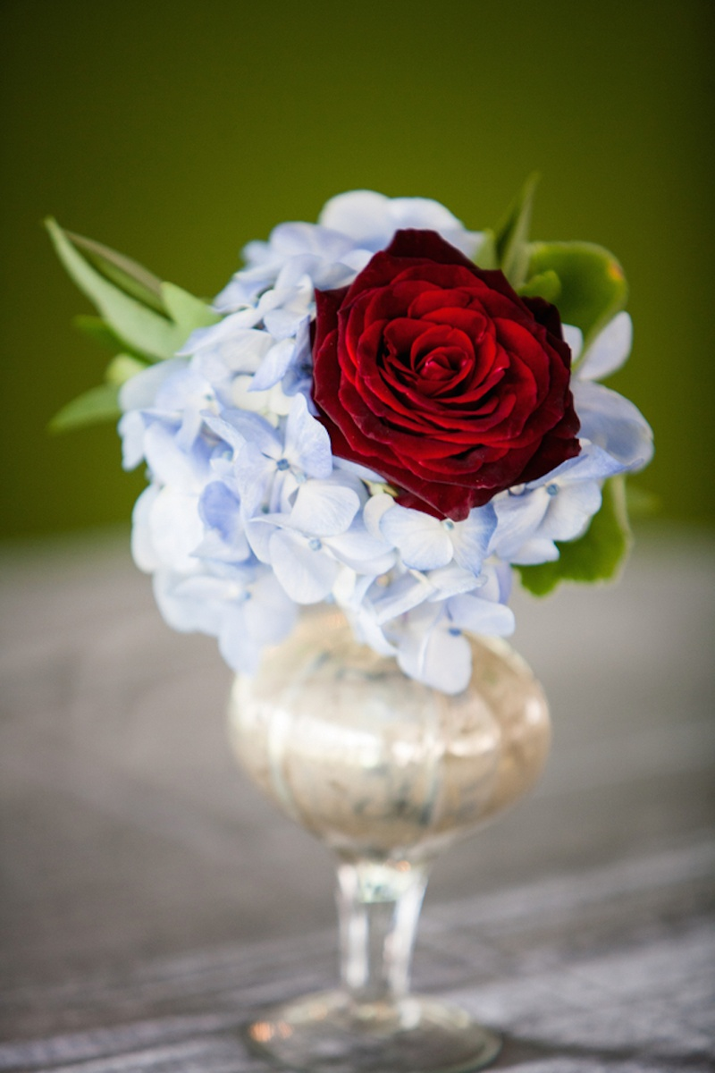 Reception dcor photos small hydrangea rose arrangement small vase with light blue hydrangea and red rose floridaeventfo Images