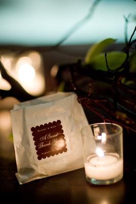 Wedding favor bag with custom brown sticker