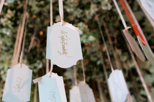 Wedding place cards suspended from a tree with ribbon