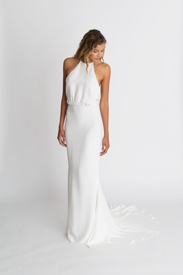 "Alexandra Grecco fall winter 2018 ""The Magic Hour"" wedding dress Nico silk crepe gown halter neck"