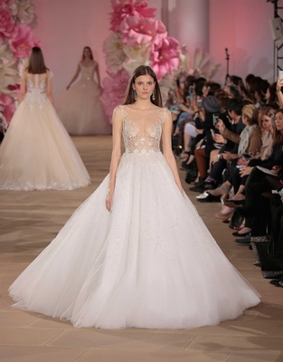 Ines Di Santo Couture Bridal Collection Spring Summer 2017 sheer bodice ball gown skirt scoop neck