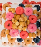 display colorful donuts pink blue normal sugar desserts wedding reception snack
