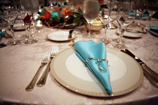Wedding Reception Centerpiece Ivory Plate With Light Blue Satin Napkin Crystal