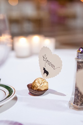 Ferrero Rocher chocolate and scalloped heart seating card