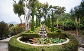 landscaped pond and trees outside mansion