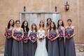 Brock Osweiler wedding bridesmaids in Joanna August long bridesmaid dresses