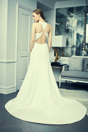 Romona Keveza Collection Bridal crepe a-line bridal gown with halter neckline and trilium back