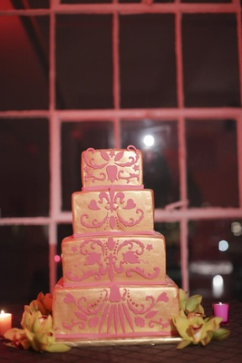 Square four layer cake with textured design