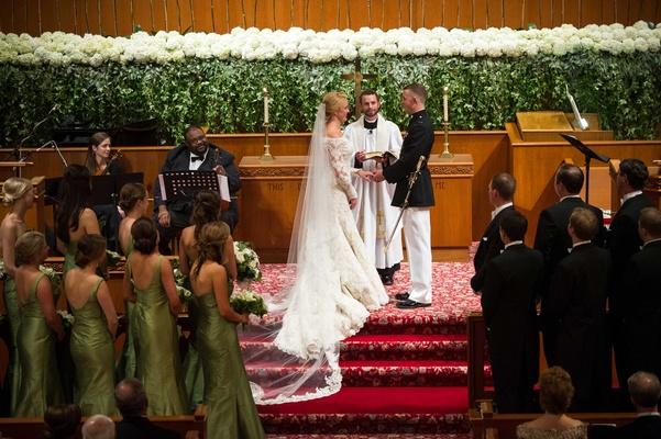 First United Methodist Church in Bay City, Texas military wedding ceremony bride at altar
