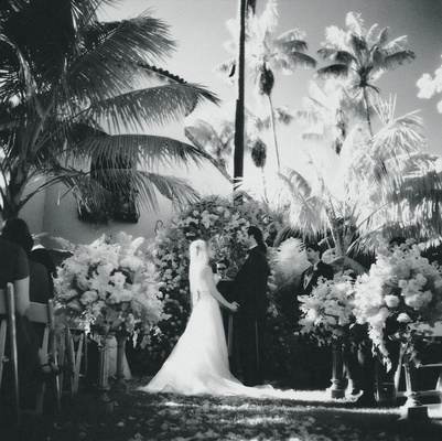Black and white photo of tropical ceremony