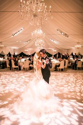 Bride in galia lahav wedding dress pearls low back long hair dancing with groom tent wedding