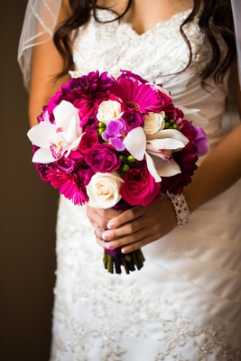 Vibrant Pink And Fuchsia Wedding Bouquet With Orchid Rose Gerber Daisy