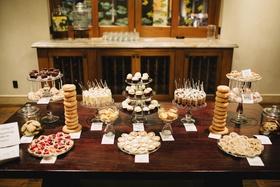wedding dessert table with donuts, cupcakes, brownies, blondies, fruit tarts