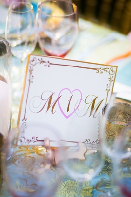 Gold-rimmed card with pink heart and script