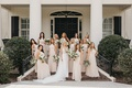 former miss america savvy shields in berta wedding dress bridesmaids in high neck champagne gowns