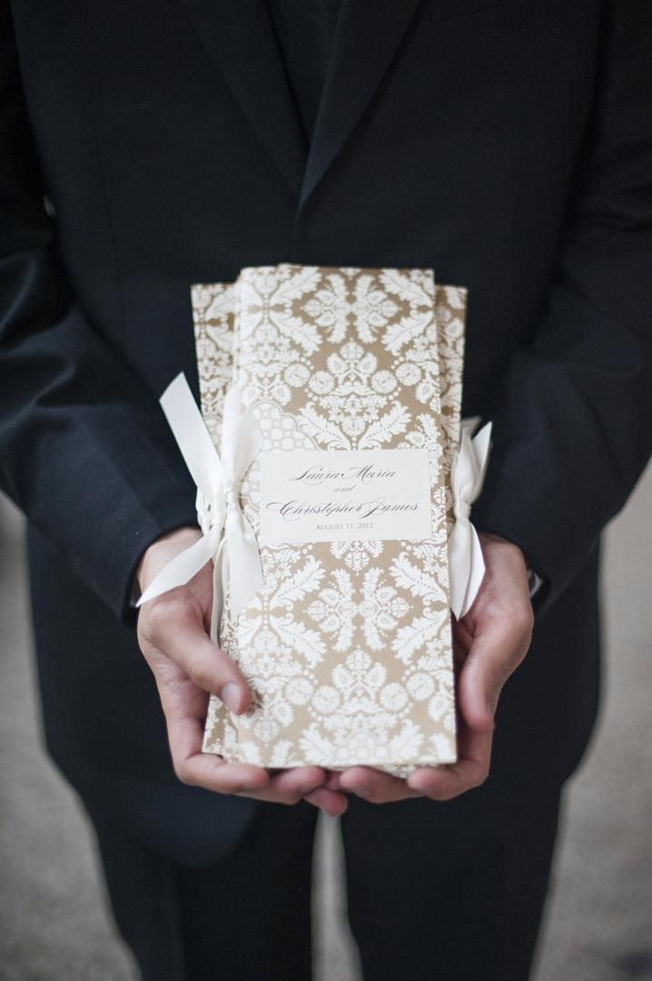 Gold and white damask print wedding ceremony program