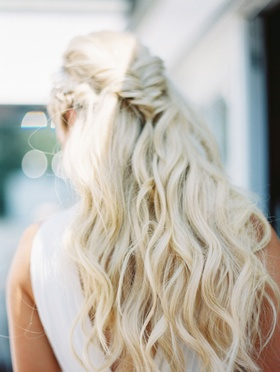 CJ Lana Perry wedding day hairstyle long hair loose waves fishtail braid