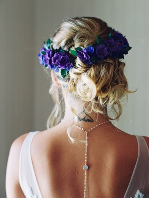 flower crown with purple flowers, back necklace, boho-chic wedding
