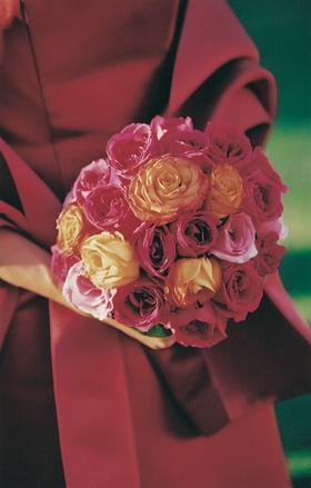 Bridesmaid bouquet with pink and orange roses