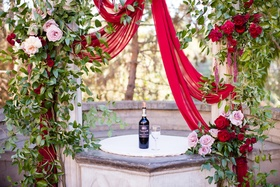 bottle of wine and wine glass for wine unity ceremony