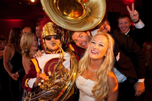 Bride with University of Southern California tuba