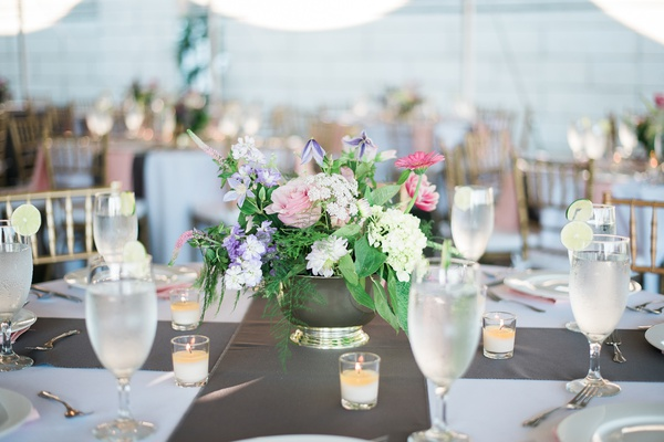 small flower arrangements, pink flowers, purple flowers, white flowers