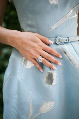 Vintage diamond wedding band and engagement ring at bridal shower