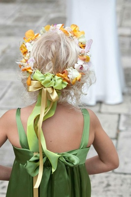Back of flower girl's head with flower crown
