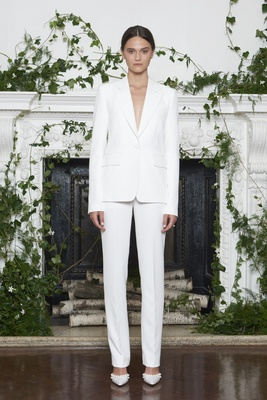 Monique Lhuillier Fall 2018 white stretch crepe tailored pant suit with one-button tuxedo jacket