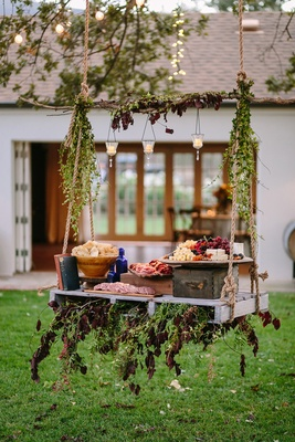 swing featuring meat cheese fruit platter rustic chic wedding professional event california food