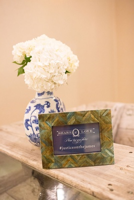 Herringbone chevron frame with navy blue white share the love hashtag sign blue white ginger jar