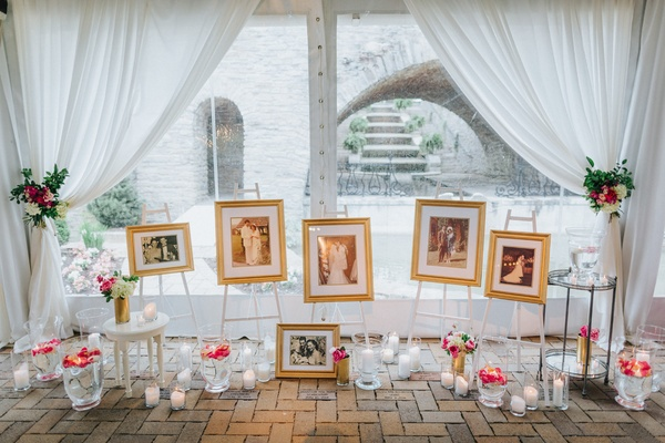 wedding display of parent and grandparents wedding pictures