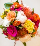 colorful pink orange yellow bouquet spanish mexican influences wedding tropical warm weather