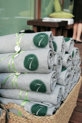 Custom sweatshirt wedding favor in basket