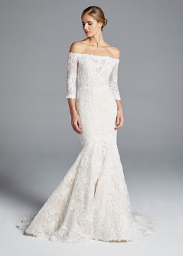 d029ba16557 Anne Barge Spring 2019 collection off the shoulder fit and flare gown with  sleeves